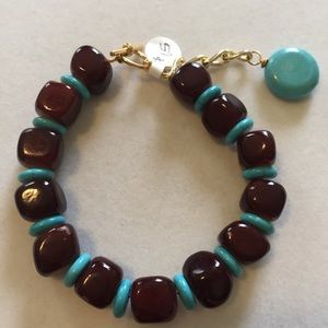 Chocolate Brown Nugget bracelet with Turquoise